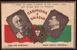 CARMONA E SALAZAR Salve PORTUGAL! Igreja Stº. António Das Antas PORTO. Postal Duplo / Double Postcard - Porto