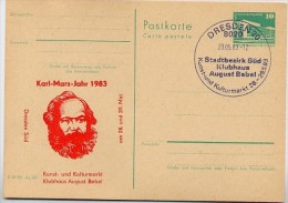 KARL-MARX-JAHR DDR P84-16-83 C26 Postkarte Zudruck DRESDEN Sost. 1983 - Karl Marx