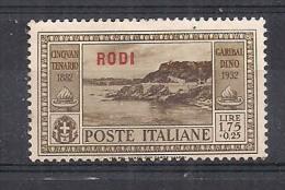 COLONIE ITALIANE EGEO/RODI GARIBALDI SASS.27 MLH VF - Egeo (Rodi)