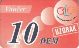 MONTENEGRO - Alo By Pro Monte Prepaid Card 10 DEM, Sample - Montenegro