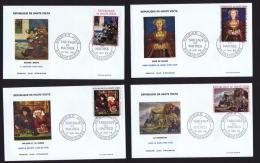1968 -  Tableaux: Holbein, Gauguin, Metsys, Le Nain  Poste Aérienne  - 4  FDC Non-adressés - Haute-Volta (1958-1984)