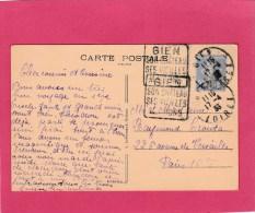 SEMEUSE 40C SUR CPA GIEN DAGUIN DOUBLE SON CHATEAU SES VIEILLES MAISONS 17/4/33 POUR PARIS     Tdk - Marcofilia (sobres)