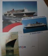 El2.q- Paquebot QUEEN MARY 2 Liner Cunard Transatlantique + 2 CP QM2 -- - Non Classés
