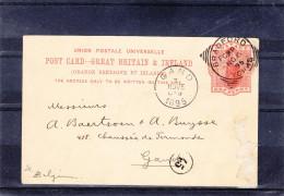 Grande Bretagne - Carte Postale De 1895 - Entier Postal - Oblitération Bradford - Expédié Vers La Belgique - Gand - Interi Postali