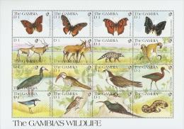 B035 Gambia 1991 Butterfly Deer monkey Snake Eagle IBIS s/s