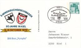 """PP 100/80  3. Minensuchgeschwader - 20 Jahre In Kiel - BM-Boot """"Nymphe - Privatpostkarten - Gebraucht"""