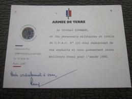 MILITARIA Document Militaire Caserne Du Muy Marseille Armée CTAC N° 131 Meilleurs Voeux 1990 Le Colonel - Documents