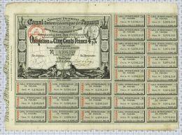 Canal De Panama, Obligation Noire De 1884, Tres Rare - Navigation