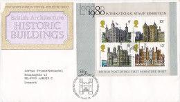 Great Britain Ersttag Brief FDC Cover 1978 Historische Bauten Historic Buildings Block 1 Miniature Sheet - 1971-1980 Dezimalausgaben