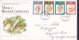 Great Britain Ersttag Brief FDC Cover 1980 Music British Conductors Dirigenten - 1971-1980 Dezimalausgaben