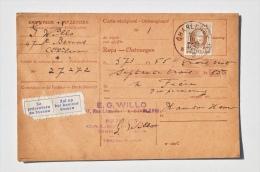 Carte-récépissé Des PAPIERS Et CALENDRIERS WILLO à CHARLEROI Vers M. Frère, IMPRIMEUR à HAM-SUR-HEURE, 1927 - Printing & Stationeries