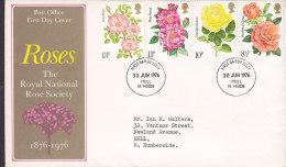 Great Britain Ersttag Brief FDC Cover 1976 Blume Flowers Rose Rosengesellschaft - 1971-1980 Dezimalausgaben