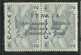 OCCUPAZIONE ITALIANA CEFALONIA E ITACA 1941 MITOLOGICA POSTA AEREA AIRM MAIL 2 D + 2 DRACME MNH SIGLATO SIGNED - Cefalonia & Itaca