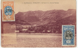 1 Iles Marquises Nuka Hiva Le Fond De La Baie De Taiohae 2 Timbres Vahiné Non Voyagé - Frans-Polynesië