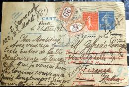 ITALIA 1860 - SEGNATASSE CENT 5 E CENT 20 SU CARTE POSTALE FRANCIA - Postage Due
