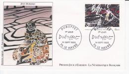 LE HAVRE (76), Jean DUBUFFETdessin De J. P. Veret-Lemarinier,  FDC 14/09/1985 - FDC