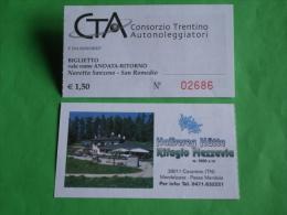 Bus Navetta SANZENO/S.ROMEDIO Santuario 1 Biglietto Rifugio MEZZAVIA. Cavareno.Trentino. Mendelpass.Passo Mendola - Non Classificati