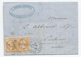 - Lettre - SEINE - PARIS - Etoile 28 S/TP Type Napoléon III,  N°21x2 + Càd T.17 - 1866 - 1862 Napoleon III