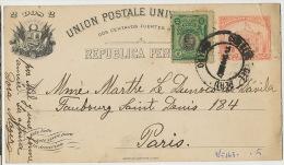 Entero Postal Entier Postal Stationnery Callao à Marthe Le Dunois De Davila Paris 1921 - Pérou