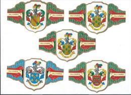 Fabrica de Tabacos/Alvaro/Cigarcanar ia/ Colecccion Heraldica/5 bagues grand Format/ TENERIFE/Espagne/ Ann�es 80  CIG11