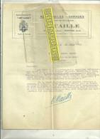 """95 - Val-d'oise - PONTOISE - Facture CAILLE - Automobiles - Garage - Agent """"HOTCHKISS"""" – 1926 - 1900 – 1949"""