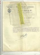 """95 - Val-d´oise - PONTOISE - Facture CAILLE - Automobiles - Garage - Agent """"HOTCHKISS"""" – 1926 - 1900 – 1949"""