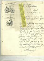 88 - Vosges - EPINAL - Facture MOREAU - Vélocipèdes - Machines à Coudre  – 1890 - France