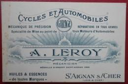 - SAINT AIGNAN SUR CHER (Loir Et Cher) CYCLES Et AUTOMOBILES - A. LEROY - - Cartoncini Da Visita