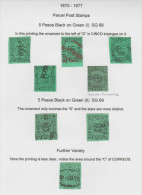 O) 1870 TO 1877 COLOMBIA, 5 PESOS BLACK ON GREEN, SG 68, 5 PESOS BLACK ON GREEN SG 69, 5 PESOS FURTHER VARIETY, XF - Colombia