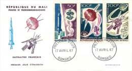 MALI  1967   Satellites Français  Espace  Space   Poste Aérienne  -  FDC Non Adressés - Mali (1959-...)