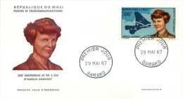 MALI  1967   Amélia Earhart   Poste Aérienne  -  FDC Non Adressé - Mali (1959-...)