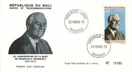 MALI  1970  50è Ann. Mort De Flanklin D. Roosevelt   Poste Aérienne   -  FDC Non Adressé - Mali (1959-...)