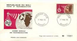 MALI  1970    Journée Mondiale Des Télécommunications  -  FDC Non Adressés - Mali (1959-...)