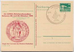 Kloster Nimbschen DDR P84-41-83 C49 Postkarte Zudruck Sost. Grimma 1983 - Klöster
