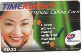 MALAYSIA - Girl, Time Telecom Prepaid Card RM30, Exp.date 31/12/02, Used - Malaysia