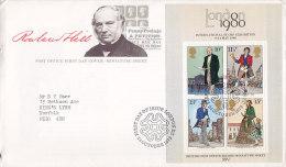 Great Britain Ersttag Brief FDC Cover 1979 Rowland Hill Anniversary Block 2 Miniature Sheet - 1971-1980 Dezimalausgaben