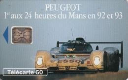 TELECARTE 50 UNITES / PEUGEOT 1er AUX 24 HEURES DU MANS EN 92 ET 93 - France