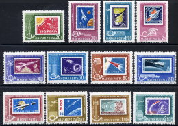 HUNGARY 1963 Postal Ministers' Conference (space Stamps) Set Of 12 MNH / **.  Michel 1907-18 - Space