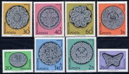 HUNGARY 1964 Halas Lace Set Of 8 MNH / **.  Michel 2000-07 - Hungary