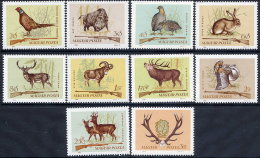 HUNGARY 1964 Hunting: Games Animals Set Of 10 MNH / **.  Michel 2079-88 - Game
