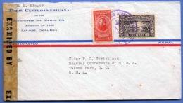 COSTA RICA 1935? - 2 Fach MIF Auf Luftpost-Brief, Zensuriert, Gel.von San Jose > USA - Costa Rica