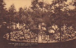 Camp Fire Scene At Council Circle Camp Long State 4-H Camp Aiken South Carolina Artvue - Aiken
