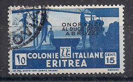 COLONIE ITALIANE ERITREA 1934 ONORANZE AL DUCA DEGLI ABRUZZI SASS. 214 USATO VF - Eritrea