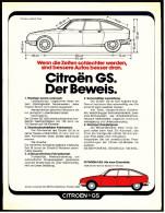 Reklame Werbeanzeige  - Citroen GS  -  Der Beweis  -  Wenn Die Zeiten Schlechter Werden,  -  Von 1974 - KFZ