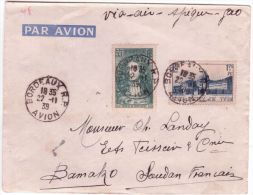 """1939- Enveloppe Oblit."""" Bordeaux R.P. / Avion """"via Air Afrique-Gao"""" Affr. à 2,30 F Pour Bamako - 1921-1960: Modern Period"""