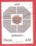 ITALIA REPUBBLICA USATO - 1989 - Lotta Contro L´AIDS - £ 650 - S. 1855 - 6. 1946-.. Repubblica