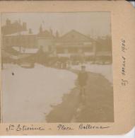 Carte Stereo 42 Saint Etienne Place Bellevue   Sous La Neige 25 Mars 1906  Rare - Stereoscoop