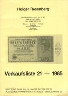 Verkaufsliste Nr. 21 1985 Holger Rosenberg Münzen Banknoten Deutschland Hamburg Numismatik Note Geldschein Coin - Literatur & Software