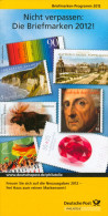 Broschüre Prospekt Folder Philatelie Deutschland Briefmarken-Programm 2012 Marke GERMANY Briefmarke Stamps - Briefmarken