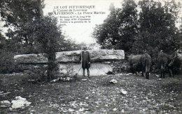 """CPA     46    LIVERNON---LA PIERRE MARTINE---ANIMEE---"""" VACHES """"---1914 - Livernon"""